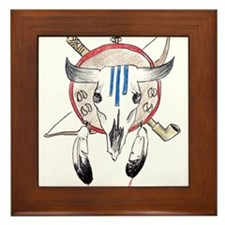 Indian Buffalo Skull Framed Tile