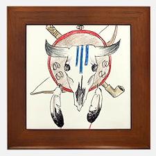 Indian Buffalo Skull Framed Tile