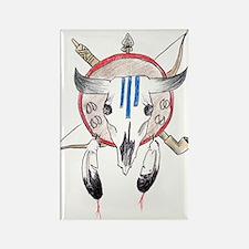 Indian Buffalo Skull Rectangle Magnet