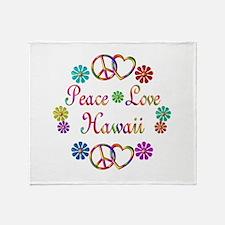 Peace Love Hawaii Throw Blanket
