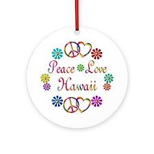 Peace Love Hawaii Ornament (Round)