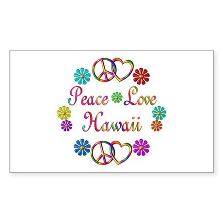Peace Love Hawaii Sticker (Rectangle)