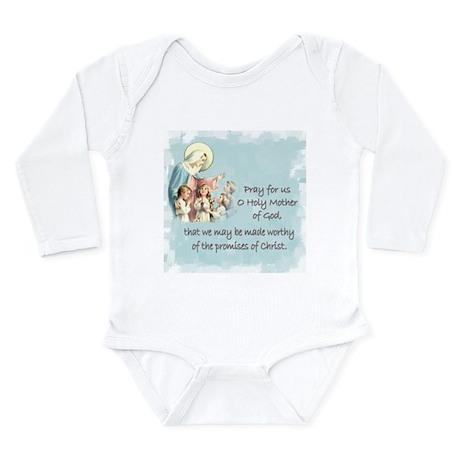 Pray for Us Long Sleeve Infant Bodysuit