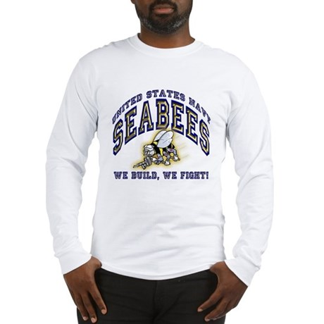 US Navy Seabees Blue and Gold Long Sleeve T-Shirt