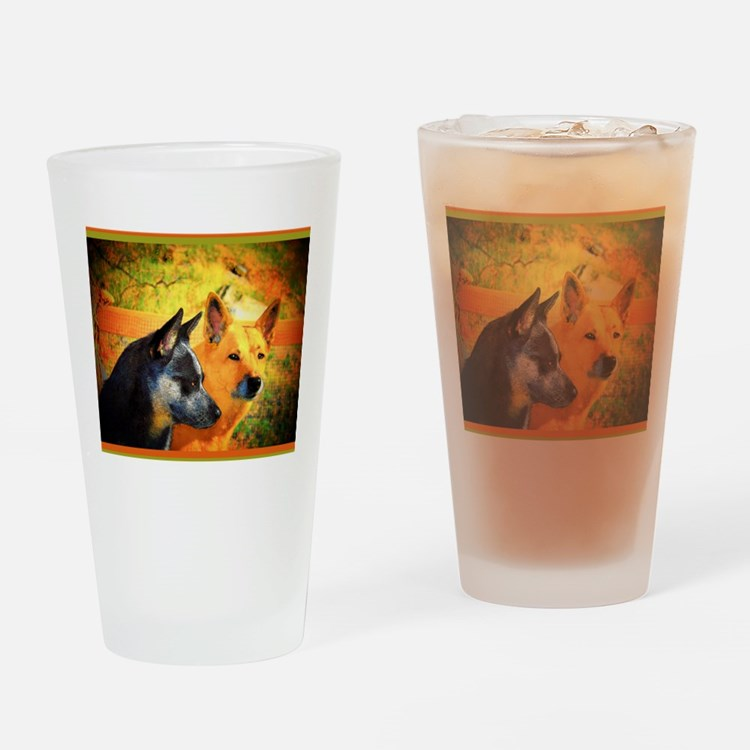 "AuCaDogs ""RednBlue"" Drinking Glass"