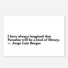 Borges library quote - Englis Postcards (Package o