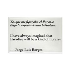 Borges library quote-Bilingual Rectangle Magnet