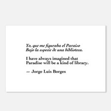 Borges library quote-Bilingual Postcards (Package