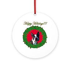 Christmas Boston Terrier Ornament (Round)