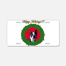 Christmas Boston Terrier Aluminum License Plate