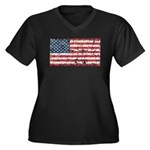 US Flag Distressed Women's Plus Size V-Neck Dark T