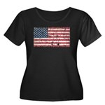 US Flag Distressed Women's Plus Size Scoop Neck Da