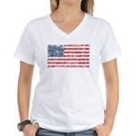 US Flag Distressed Women's V-Neck T-Shirt