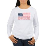 US Flag Distressed Women's Long Sleeve T-Shirt