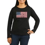 US Flag Distressed Women's Long Sleeve Dark T-Shir