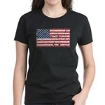 US Flag Distressed Women's Dark T-Shirt