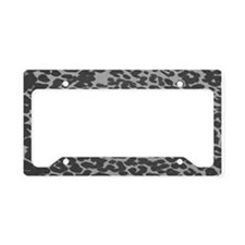 Gray Leopard Print License Plate Holder