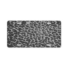 Gray Leopard Print Aluminum License Plate