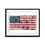 US Flag Distressed Framed Panel Print