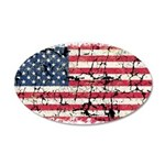US Flag Distressed 22x14 Oval Wall Peel