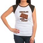 Chocolate - More Please? Women's Cap Sleeve T-Shir