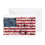 US Flag Distressed Greeting Cards (Pk of 10)