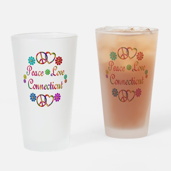 Peace Love Connecticut Drinking Glass