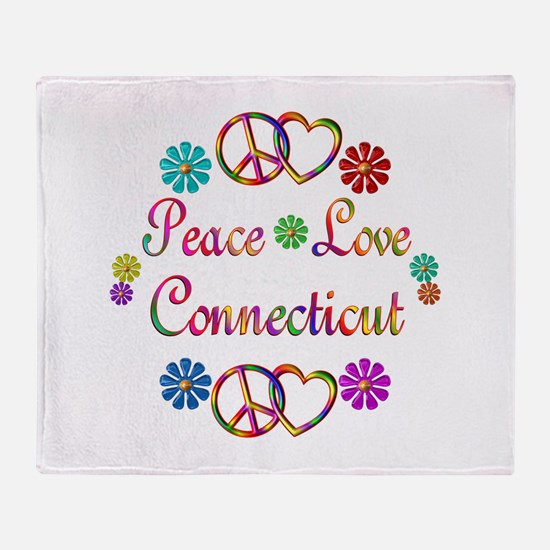 Peace Love Connecticut Throw Blanket