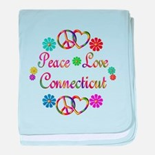 Peace Love Connecticut baby blanket