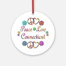 Peace Love Connecticut Ornament (Round)