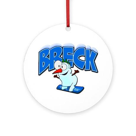 Breck Snowboarder Ornament (Round)