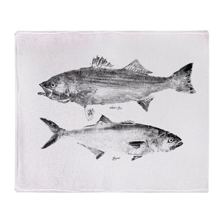 Striper Bass and Bluefish Throw Blanket