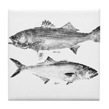 Striper Bass and Bluefish Tile Coaster