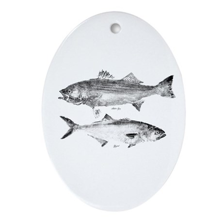 Striper Bass and Bluefish Ornament (Oval)
