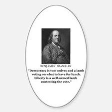 Ben Franklin Contest the Vote Quote Oval Decal