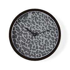 Gray Leopard Print Wall Clock