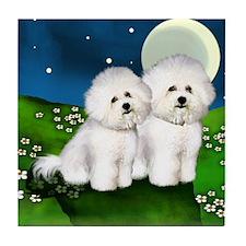 BICHON FRISE DOGS FULL MOON Tile Coaster