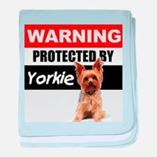 Protected by Yorkie baby blanket