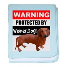 Protected by Weiner Dog baby blanket