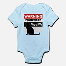 Protected by Ninja Kitty (Bla Infant Bodysuit