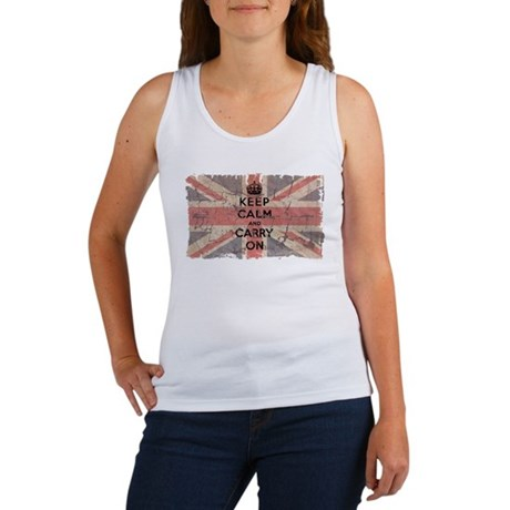 UK Flag with Keep Calm and Ca Women's Tank Top