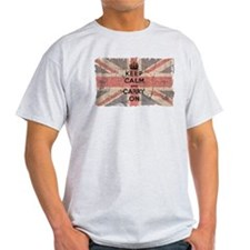 UK Flag with Keep Calm and Ca T-Shirt