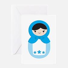 Matryoshka - Blue Greeting Card