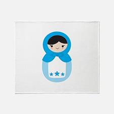 Matryoshka - Blue Throw Blanket