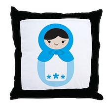 Matryoshka - Blue Throw Pillow