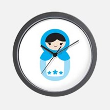 Matryoshka - Blue Wall Clock