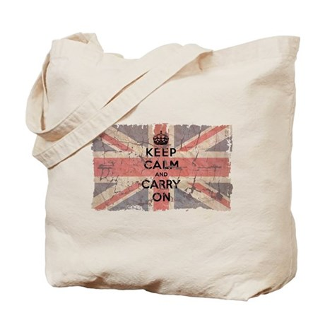 UK Flag with Keep Calm and Ca Tote Bag