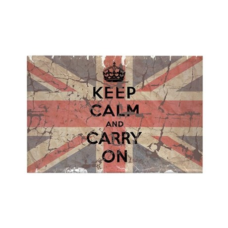 UK Flag with Keep Calm and Ca Rectangle Magnet