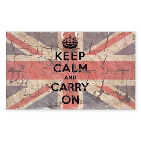UK Flag with Keep Calm and Ca Sticker (Rectangle)