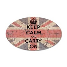 UK Flag with Keep Calm and Ca 22x14 Oval Wall Peel